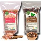 Four Peppercorns Blend -12 oz and Himalayan Pink Salt (Coarse Grain) 2 lbs , Freshly Packed , Whole Black , Pink , Green , Wh