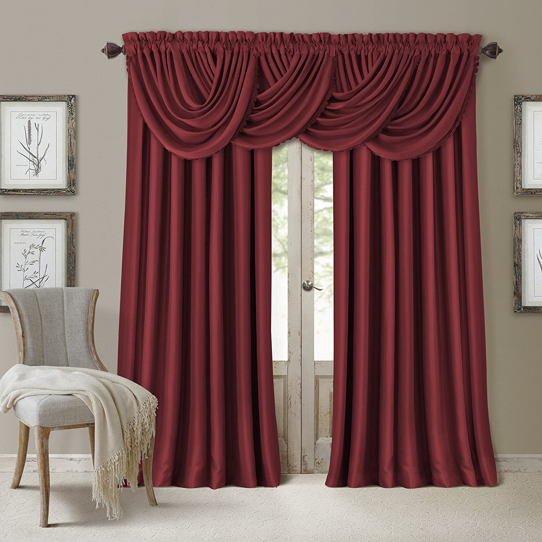 "Elrene Home Fashions All Seasons Energy Efficient Room Darkening Rod Pocket Window Panel, 52"" x 95"" (1), Red"