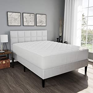 Lavish Home Mattress Cover-Made from Hypo-Allergenic Bamboo Fiber Rayon Skirted Bed Protector, Breathable Pad with Fitted No Slip Corners (Queen),