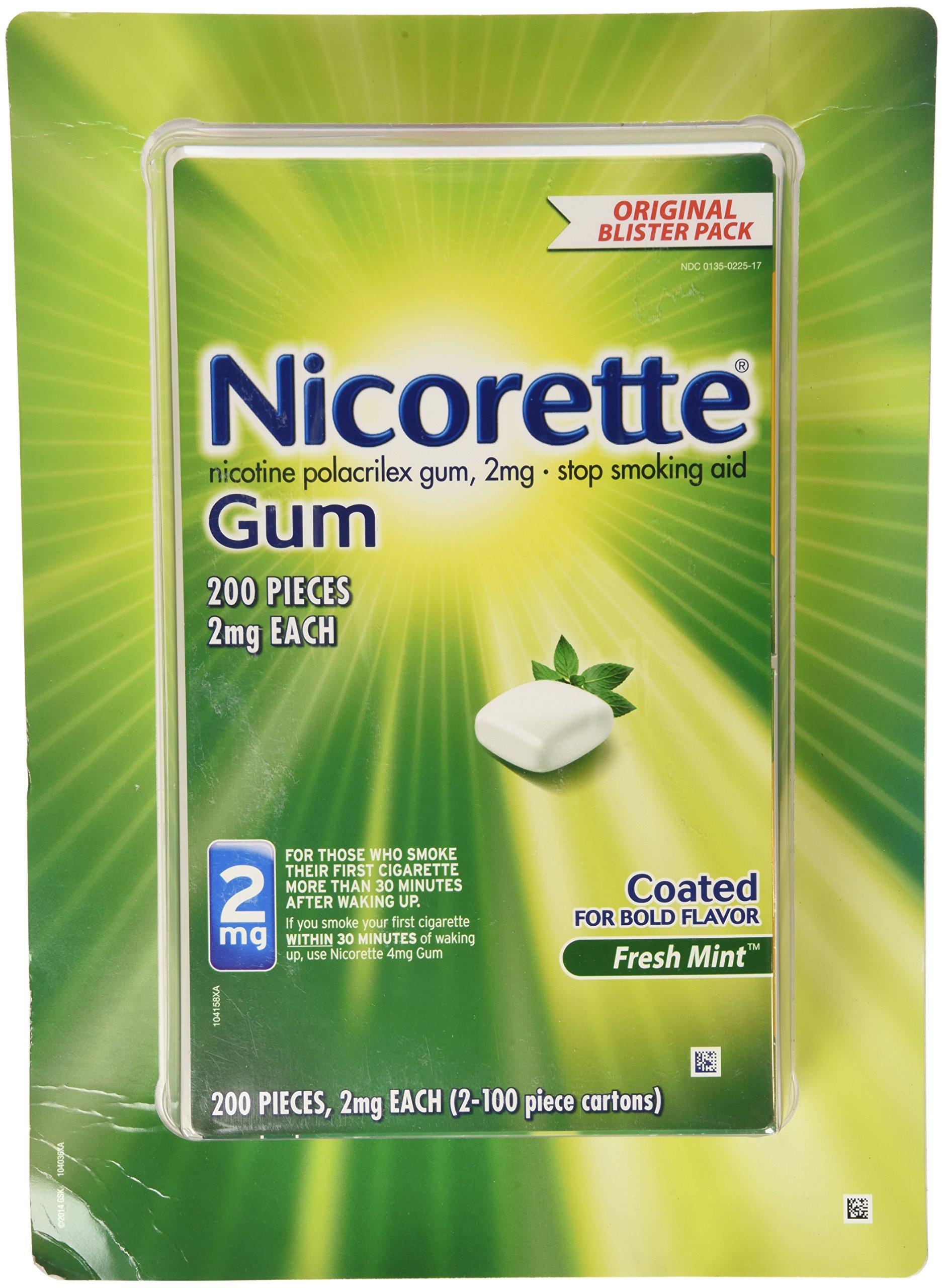 Nicorette Nicotine Gum Polacrilex Coated, Fresh Mint, 2 milligram, 200 Count