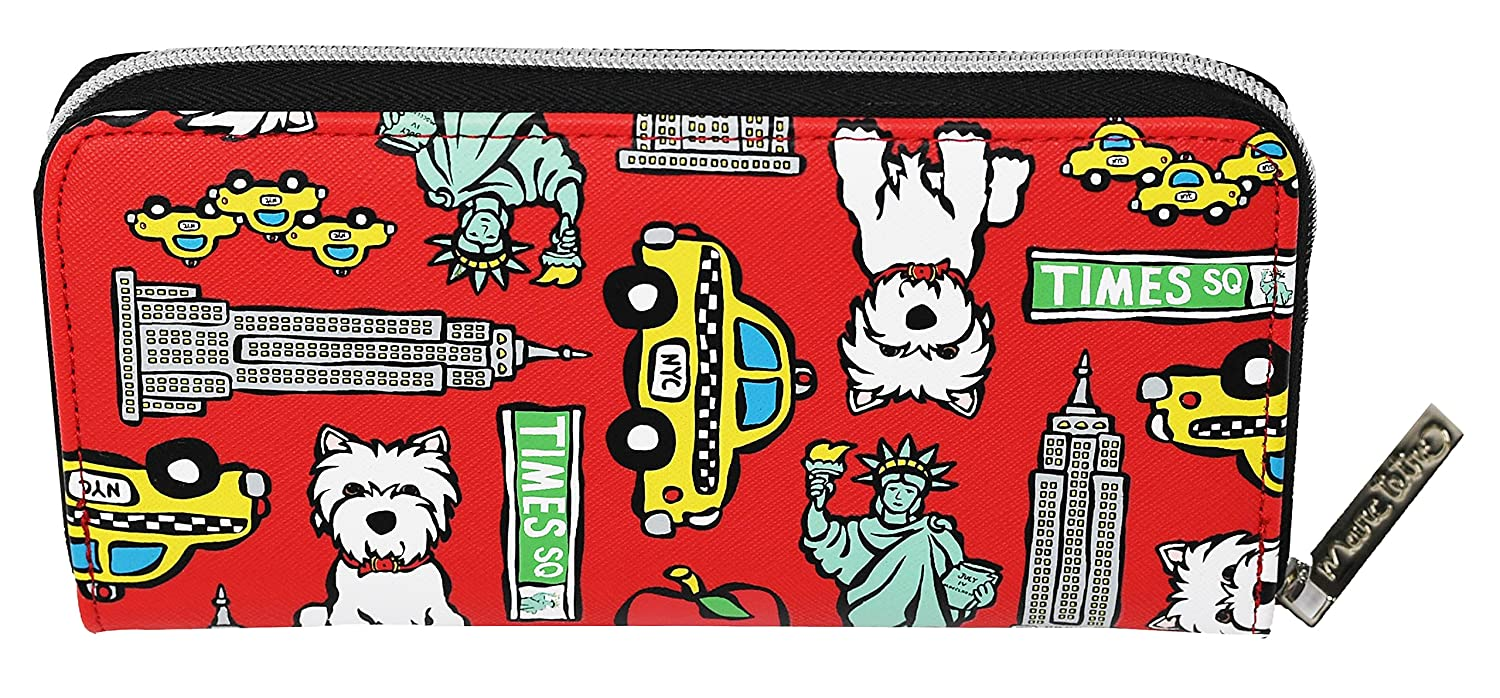Marc Tetro Westie and NYC Pattern on Red Zipper Wallet - Large
