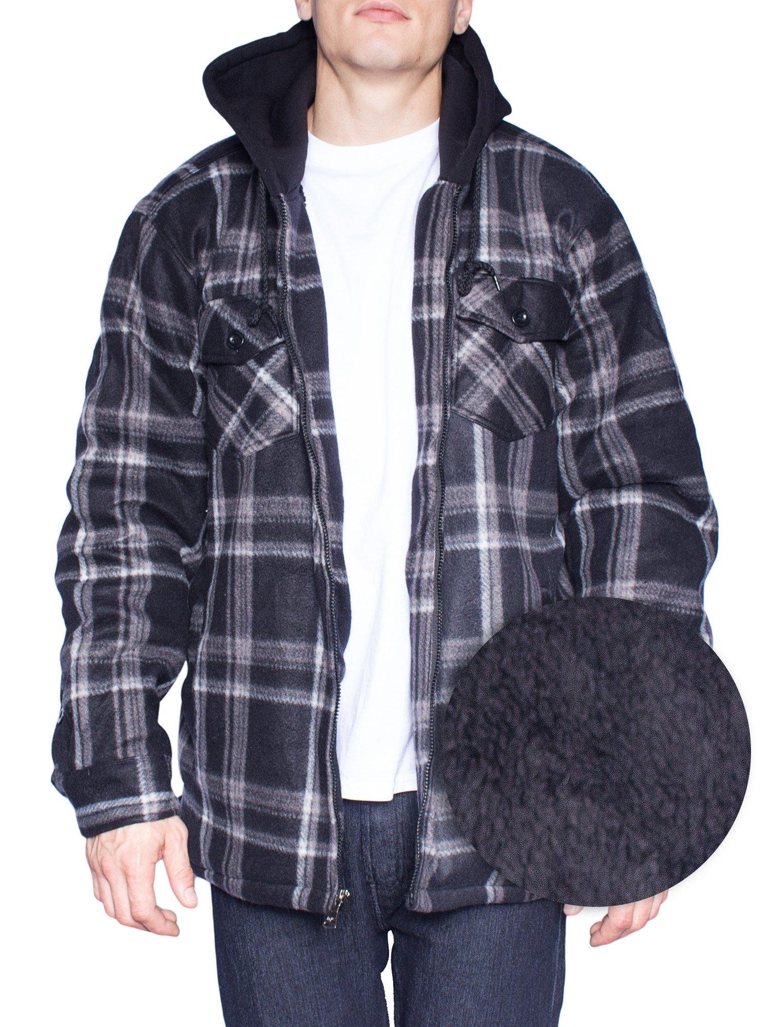 Hoodie Flannel Fleece Jacket For Men Zip Up Big & Tall Lined Sherpa Sweatshirts (3XL-Tall, Black/Grey)