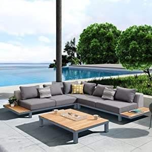Armen Living Polo Outdoor Set in Dark Grey and Grey Powder Coat Finish