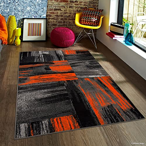 Allstar 8×10 Grey and Orange Modern and Contemporary Rectangular Accent Rug with Gainsboro Grey and Charcoal Grey Abstract Bidirectional Brush Stroke Design 7 9 x 9 8