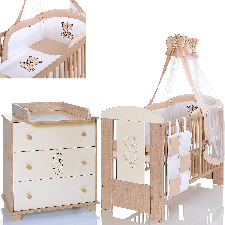 BÄR Beige Babyzimmer Möbel Komplettset Mit Kinderbett 120x60 Wickelkommode  9 Teiligen Bettwäsche Set Creme Weiss: Amazon.de: Baby