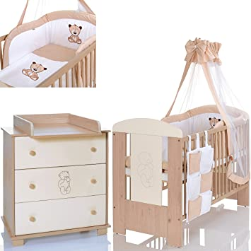 Schon BÄR Beige Babyzimmer Möbel Komplettset Mit Kinderbett 120x60 Wickelkommode  9 Teiligen Bettwäsche Set Creme Weiss