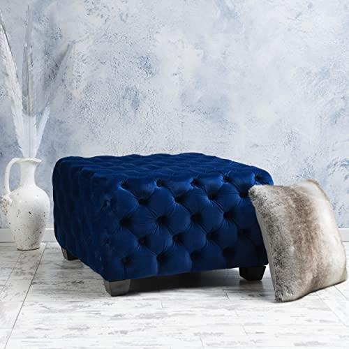 Great Deal Furniture Provence Navy Blue Tufted New Velvet Ottoman