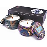 bitfire Scented Candles Gift Set of 2 Pack White tea and Rose Fragrances 100% Natural Soy Wax,Strongly scented for Stress Relief and Aromatherapy, option and portable travel supplies
