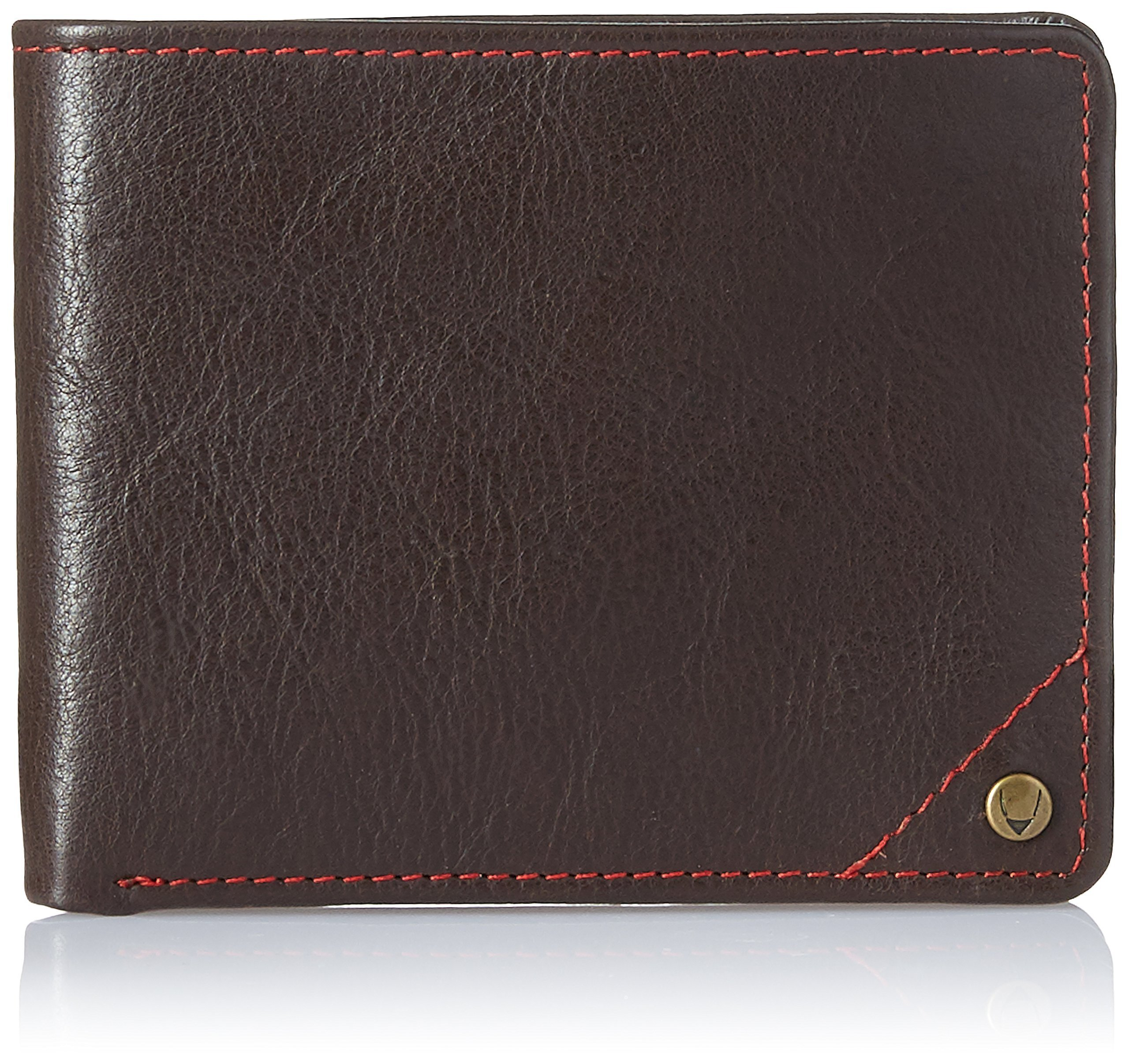 HIDESIGN Angle Stitch Leather Slim Bifold Wallet, Brown