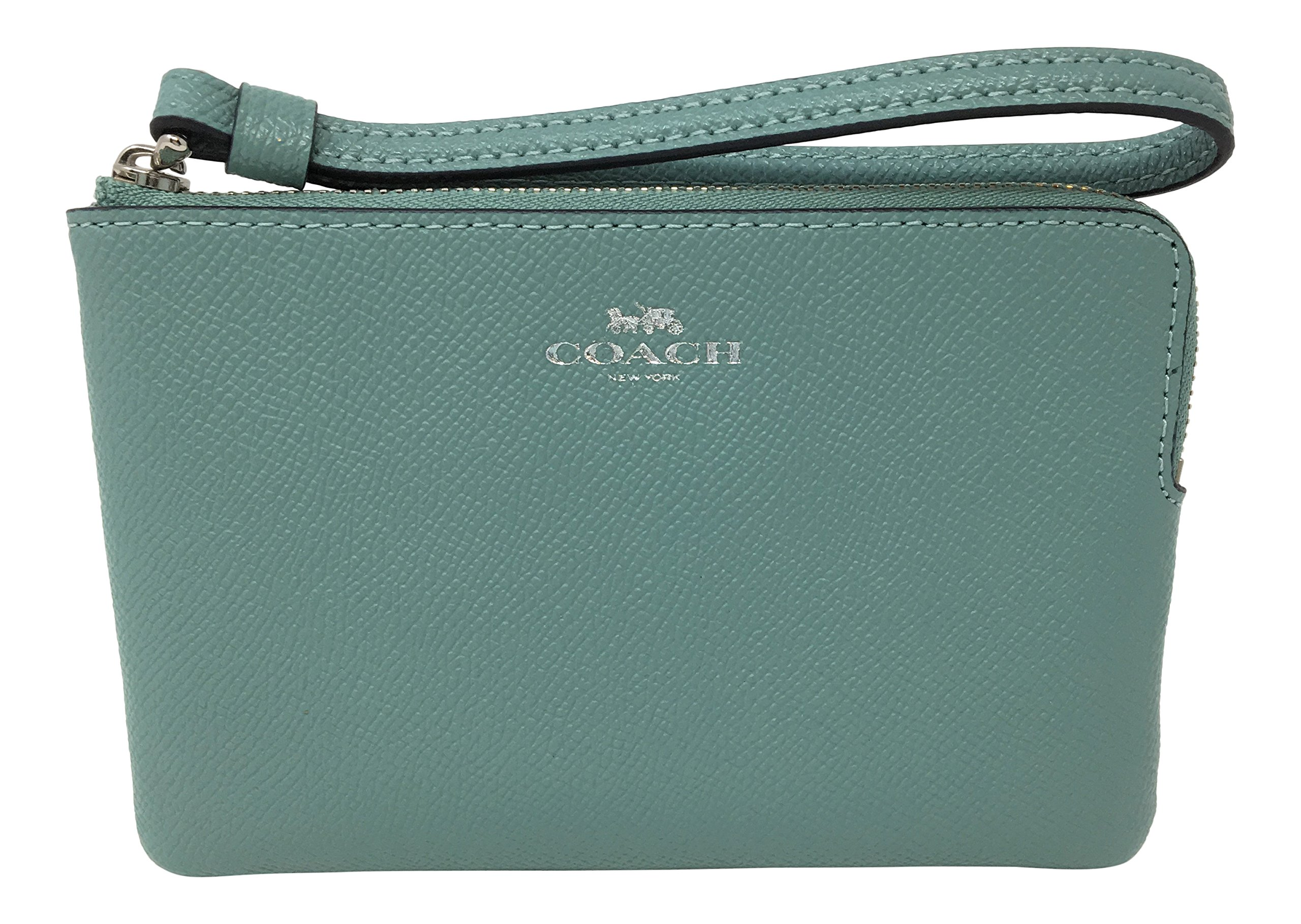 Coach Crossgrain Leather Corner Zip Small Wristlet Aquamarine F58032