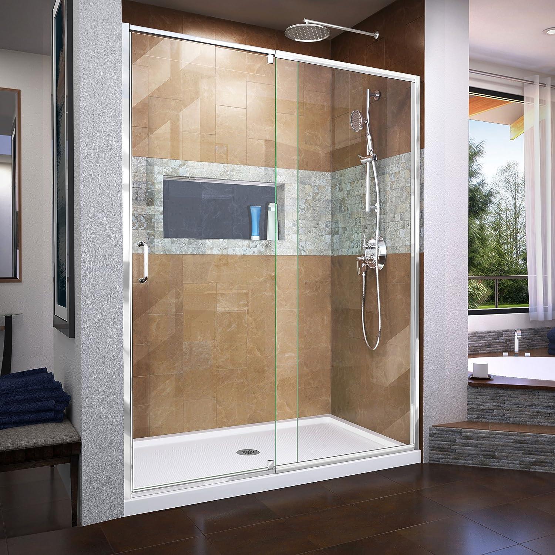 Dreamline Flex 56 60 In W X 72 In H Semi Frameless Pivot Shower