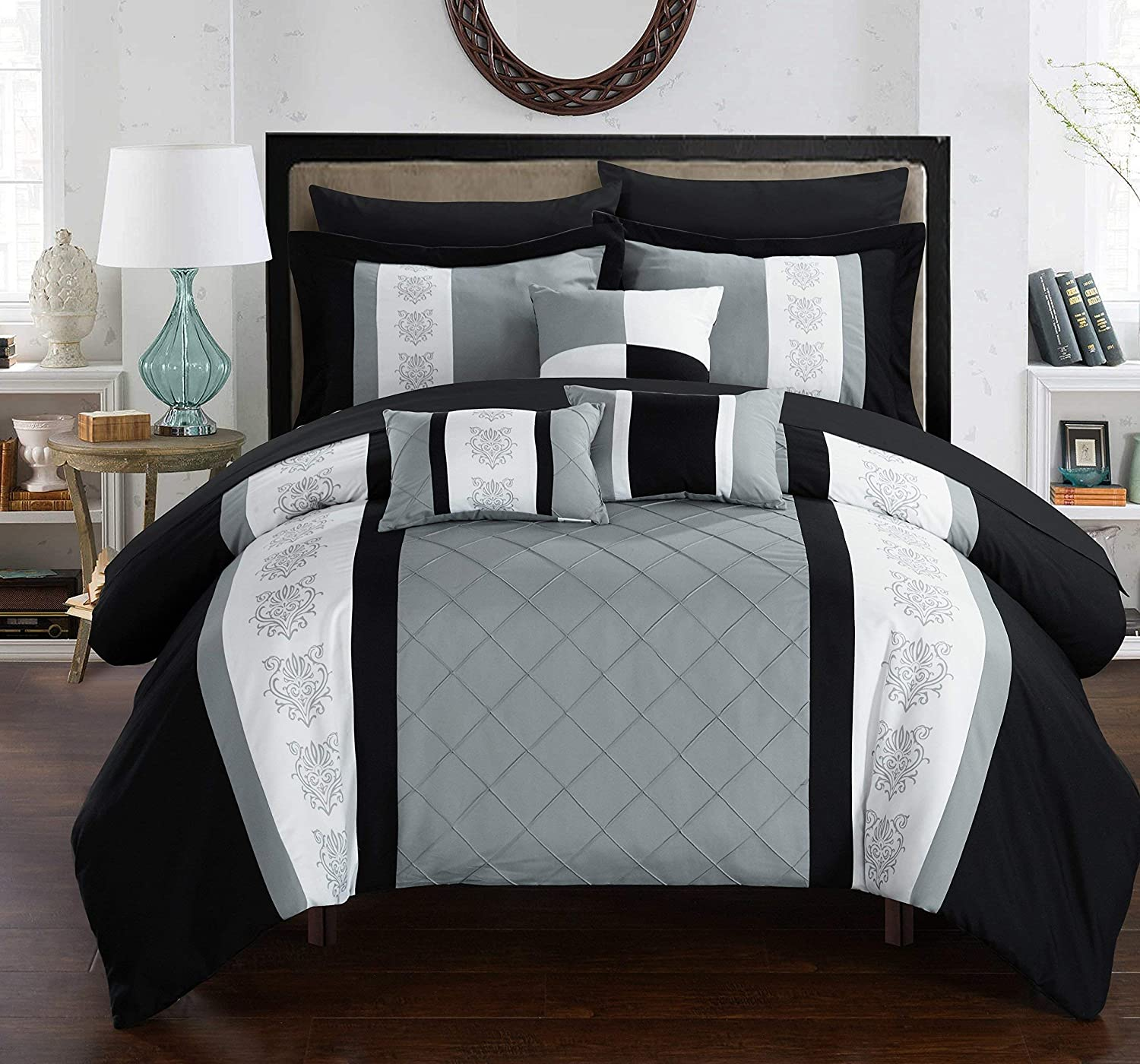 Chic Home CS1634-AN Clayton 10 Piece Comforter Set, King, Grey