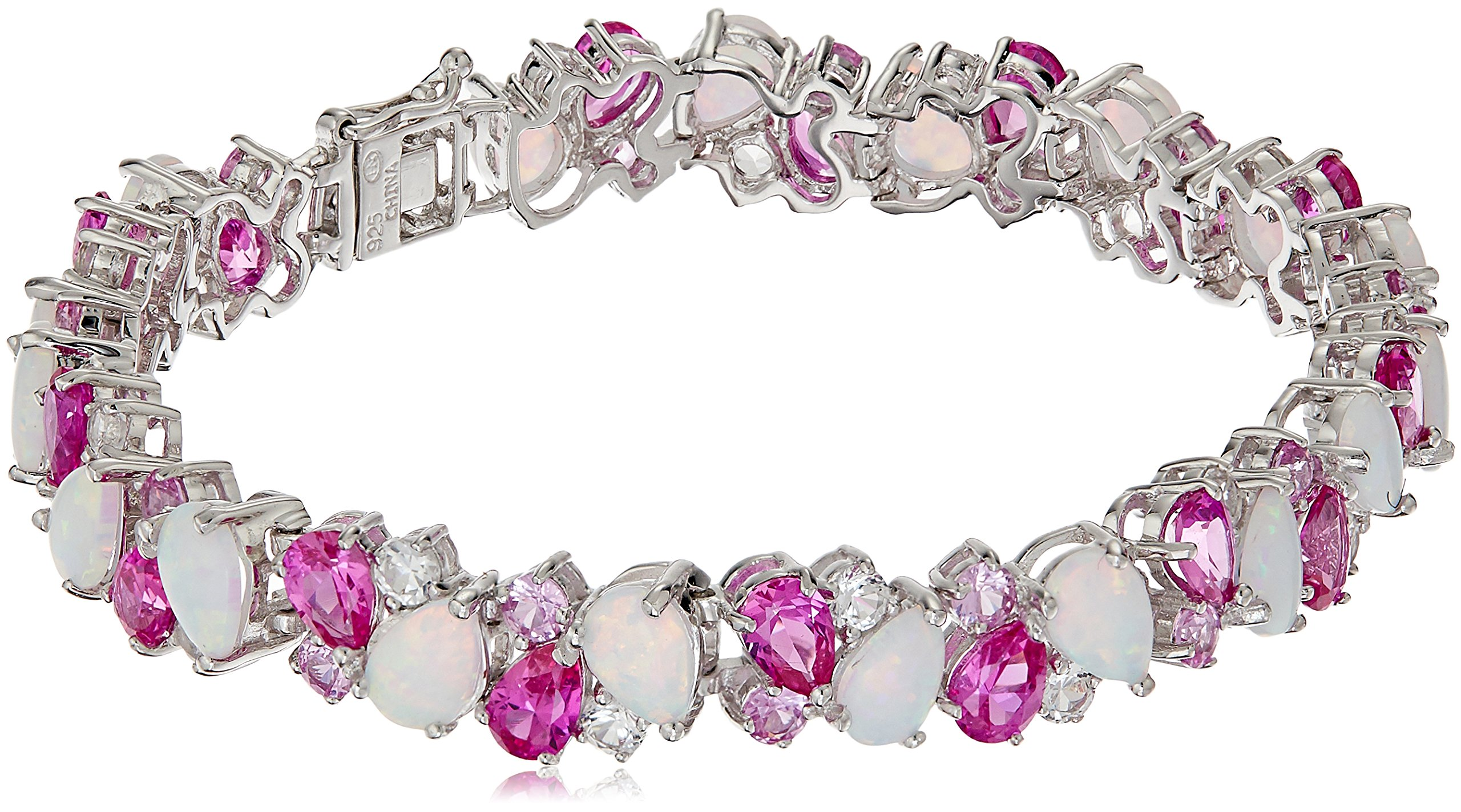 Sterling Silver Created Opal, Created Pink and White Sapphire Cluster Bracelet, 7.25''