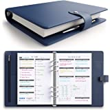 [NEW-FLASH SALE-RRP £40] LUX PRO Productivity Planner – Best A5 Undated Diary/Organizer with Daily Schedule & Reflection Journal - Manage Time/Projects/Finances/Goals/Gratitude/Happiness - (Navy Blue)