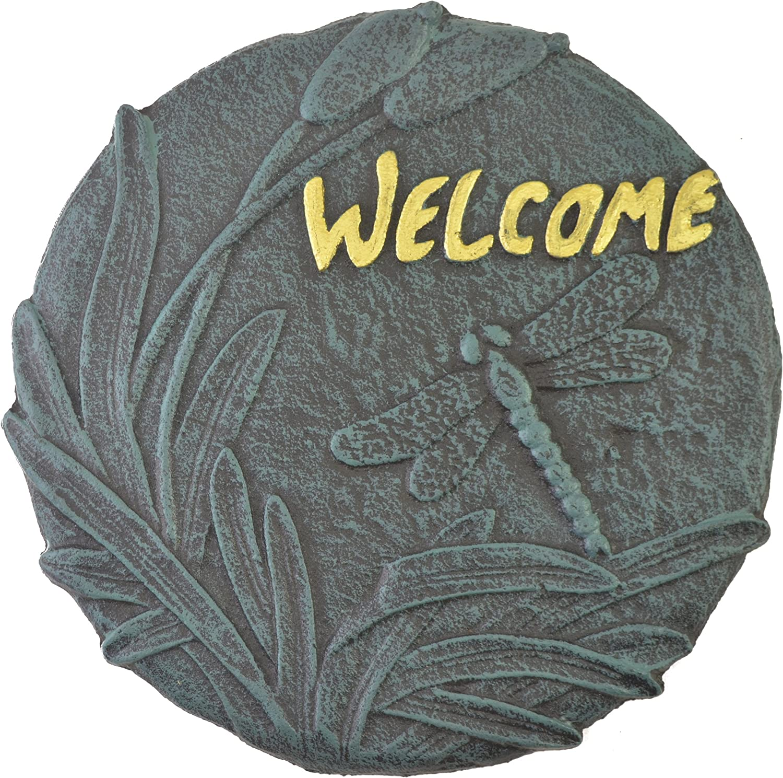 Amazon.com : Import Wholesales Dragonfly Welcome Plaque Decorative Stepping Stone Cast Iron Yard & Garden Decor : Garden & Outdoor
