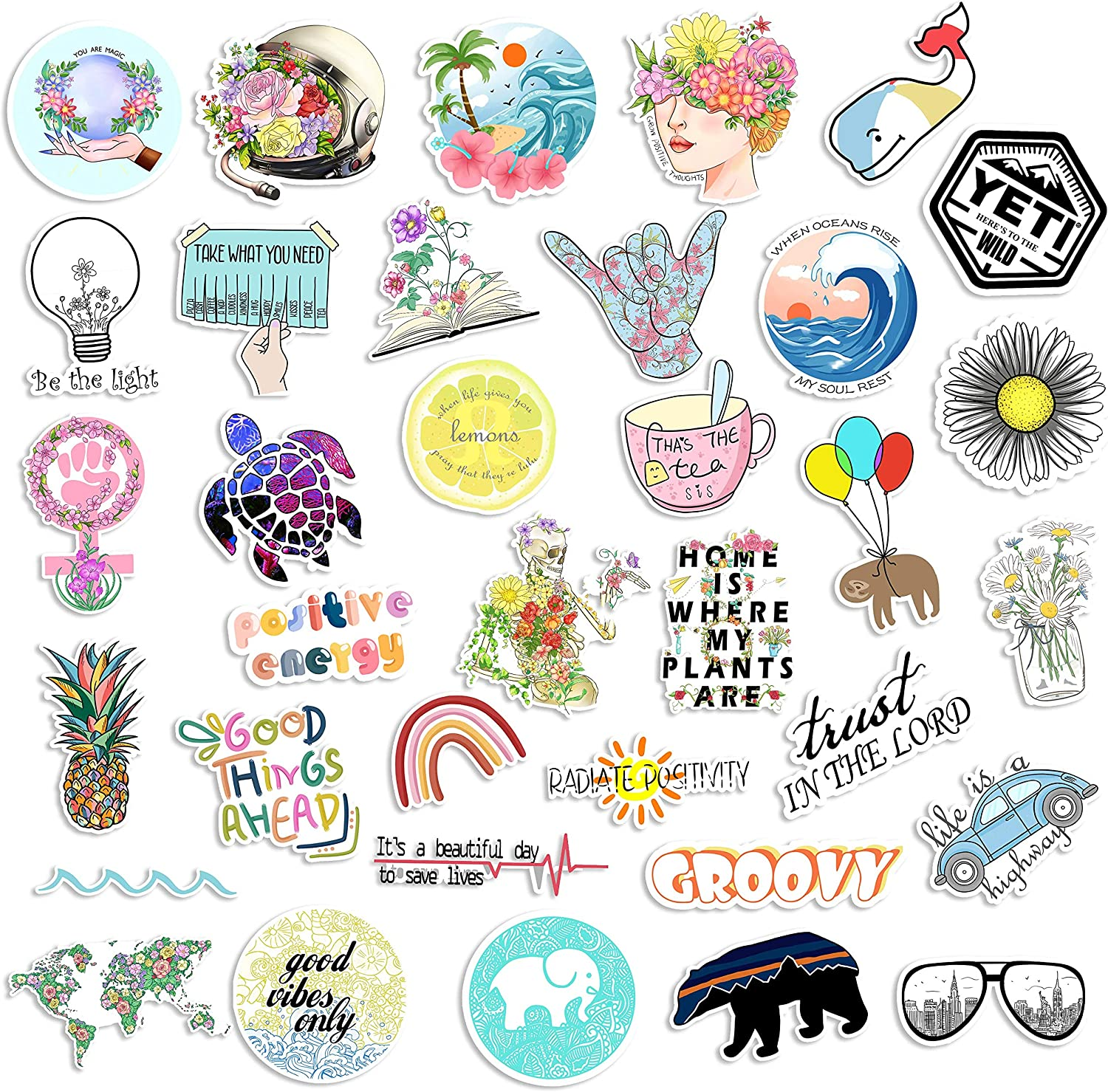 35 Cute Vsco Aesthetic Stickers - Lovely Trendy Positive Good Vibes Flowers Sticker for Laptop Hydro Flask Water Bottle Phone Case Skateboard - Waterproof Decals for Kids, Teens School Students Girls