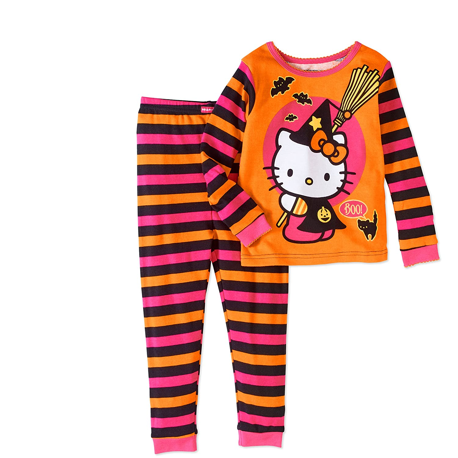 Hello Kitty Halloween Girl 2 PC Long Sleeve Tight Fit Cotton Pajama Size 5T