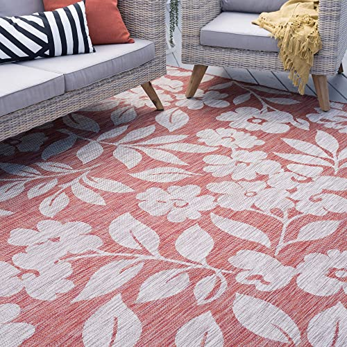 Neveah Terra Outdoor 9×12 Rectangle Area Rug for Living, Bedroom, or Dining Room – Floral