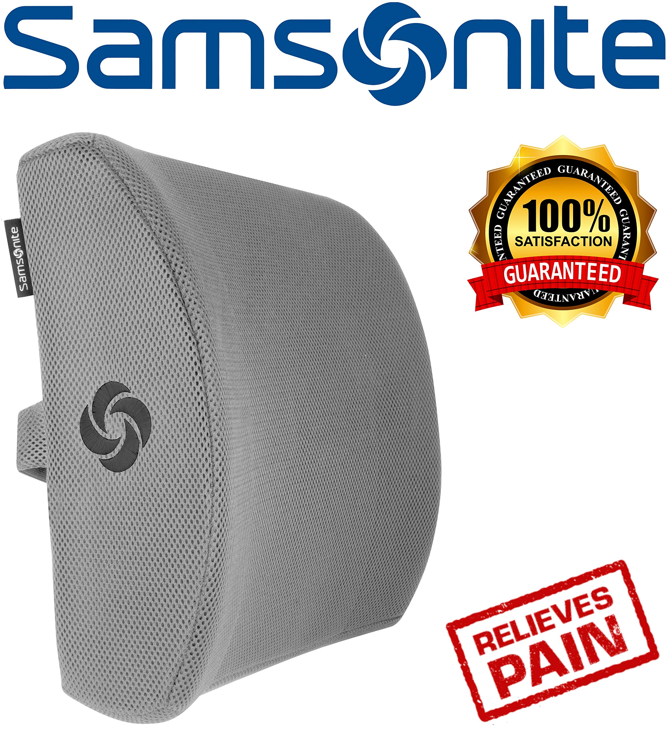 Samsonite SA5244 - Ergonomic Lumbar Support Pillow - Helps Relieve Lower Back Pain - 100% Pure Memory Foam - Improves Posture - Fits Most Seats - Breathable Mesh - Washable Cover - Adjustable Strap
