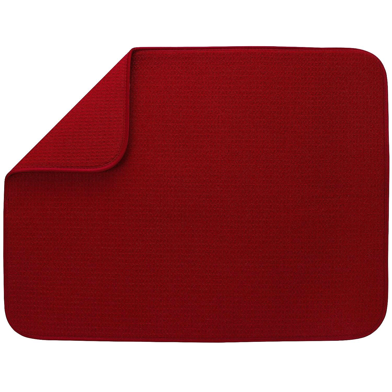 "S&T XL Microfiber Dish Drying Mat , 18"" x 24"", Red"