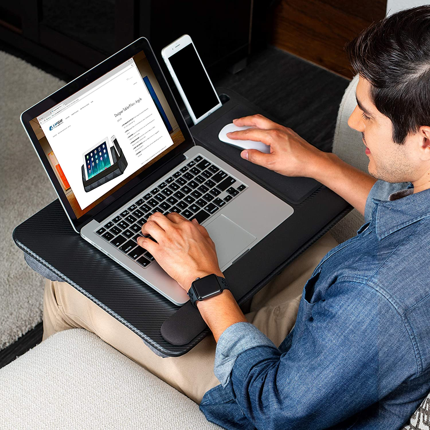 Mouse Pad, and Phone Holder - Black Carbon - Fits Up To 15.6 Inch Laptops