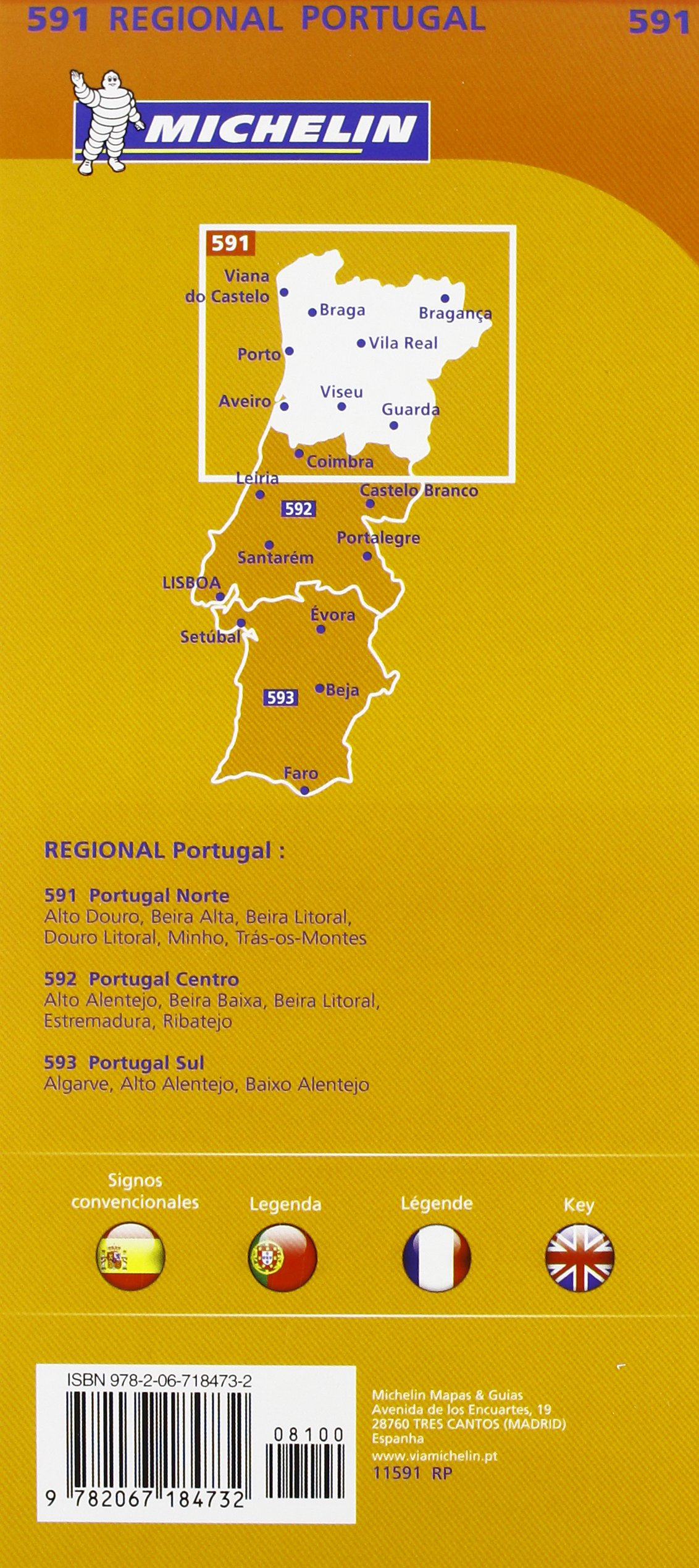 Portugal Norte - Michelin Regional Map 591: Map (Michelin Regional Maps):  Amazon.co.uk: Michelin: 9782067184732: Books