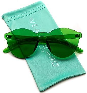 91334697f1c WearMe Pro Women s Colorful Transparent Round Super Retro Sunglasses One  Size Green
