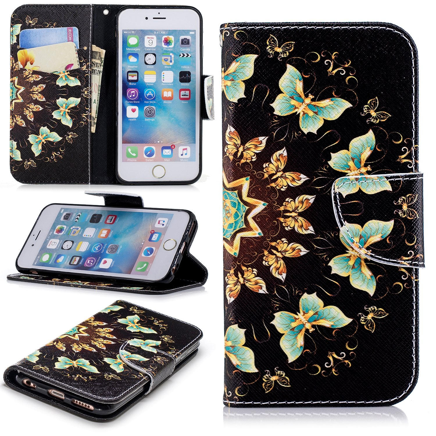 PU Cuir Coque pour iPhone 7 (4.7 pouces),Portefeuille Housse pour iPhone 8 (4.7 pouces),Leeook Rétro Cool Or Bleu Papillon Motif Flip Dustproof Bookstyle Fermeture Aimantée Dragonne Wallet Portefeuille Case Étui Coquille Couverture ave