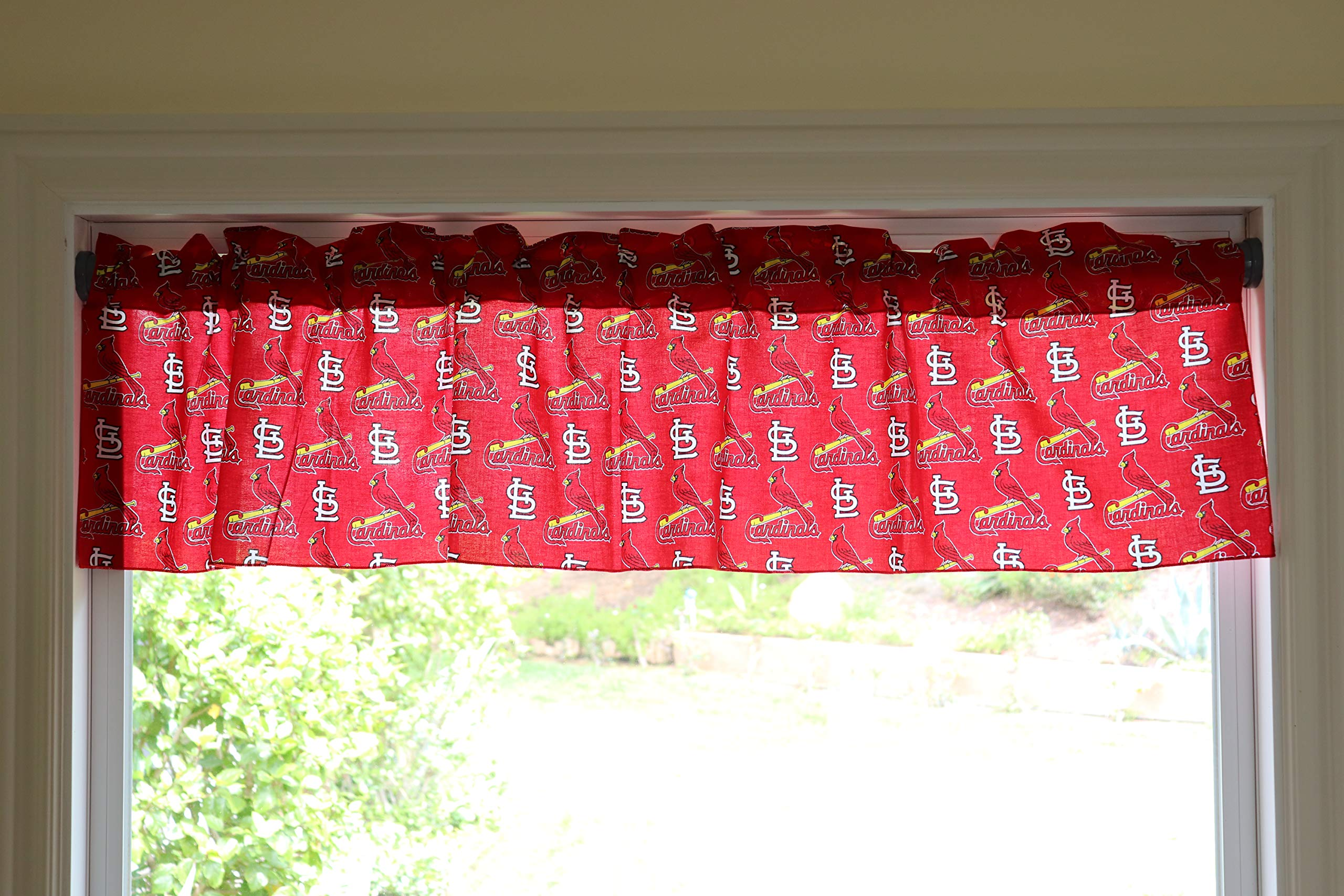 lovemyfabric Baseball Cotton Window Valance 100% Cotton Print MLB Sports Team St. Louis Cardinals Events Kitchen Dining Room Bedroom Window Decor (58'' Wide) (16'' Tall, Red) by lovemyfabric
