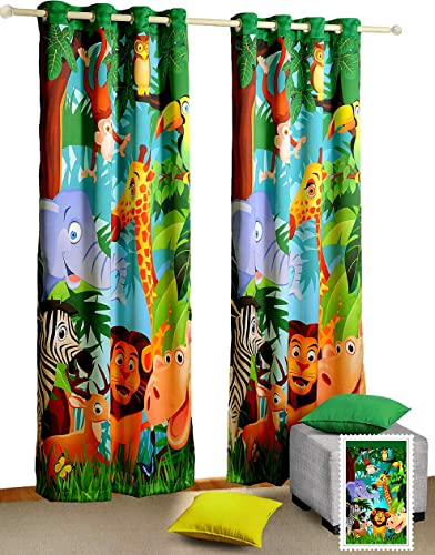 Shalinindia Jungle Animals Door Curtain