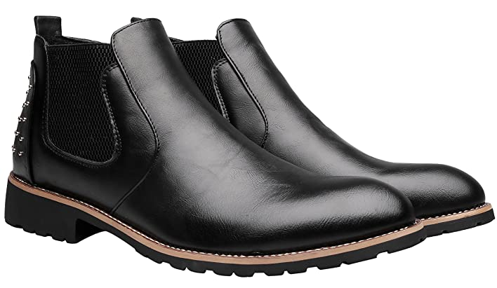 Santimon Chelsea Boots Mens Leather Chukka Ankle Boots Casual Studded Slip-on  Duke Dress Formal Shoes: Amazon.ca: Shoes & Handbags