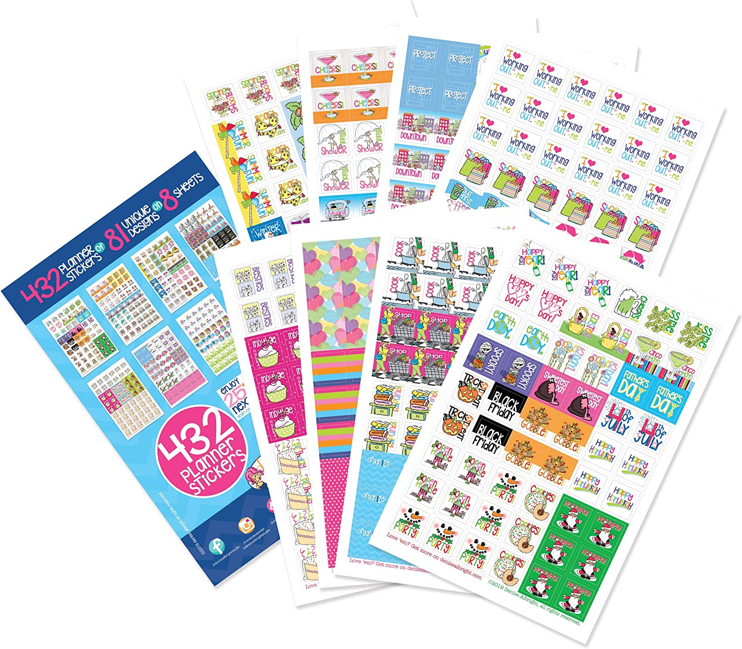 Planner Stickers Variety Set (Qty 432) Value Pack for Holidays, Birthdays, Home, Wedding, Shower, Work, Appointments, Party, Date Night, Seasons, Workout Tracking & Tasks for Any Planner or Organizer
