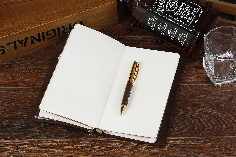 Regalos Clip Portal/ápices Cuaderno de Cuero Diario Profesional Cremallera y bolsillo de tarjeta de-8.54 x 4.7 Diario de la Vendimia con Lapicero Viajeros Cuero Genuino Recargable Cuadernos de Viajeros Para escribir