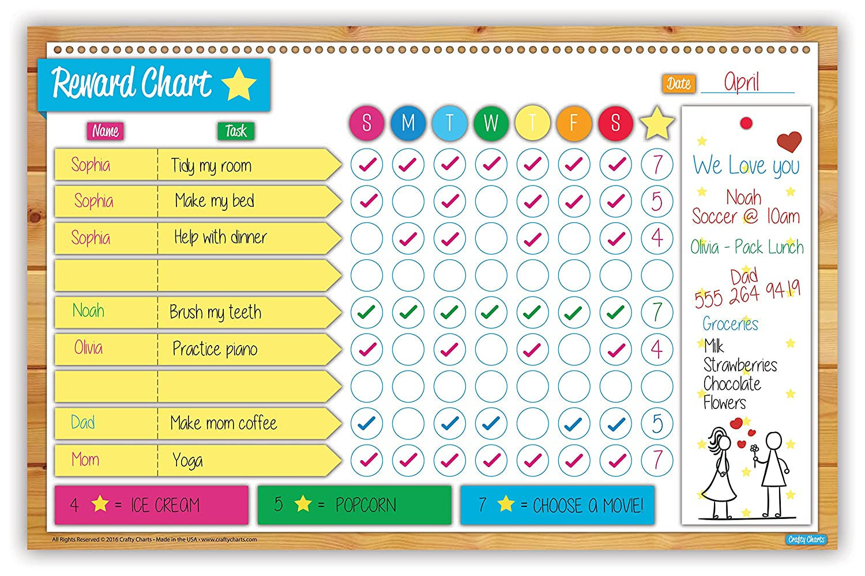 Children S Calendar Wall Chart : Lovely crafty charts magnetic reward chart flexible dry