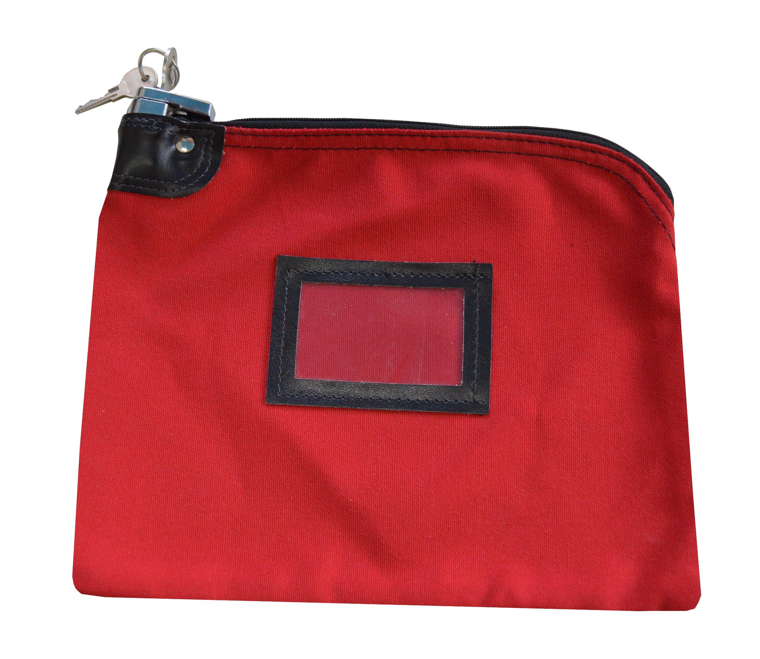 Locking Bank Bag Canvas Keyed Security Red
