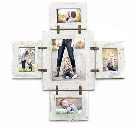 distressed rustic photo collage frame 1 8x10 and 4 4x6 multi opening unique frame