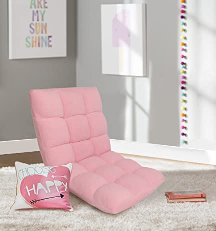 Iconic Home Daphene Adjustable Recliner Rocker Memory Foam Armless Floor  Gaming Ergonomic Chair, Pink