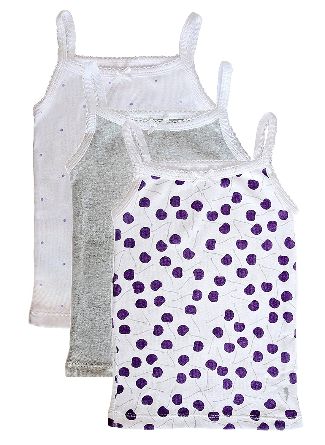 Feathers Girls Cherry Print Set Tagless Cami Super Soft Undershirts (3/pack)