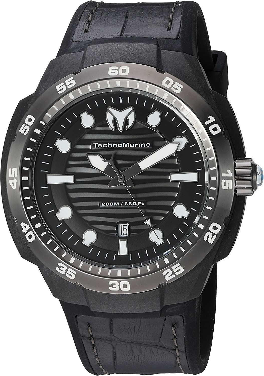 Technomarine Men's TM-515009 Sun Reef Analog Display Swiss Quartz Black Watch