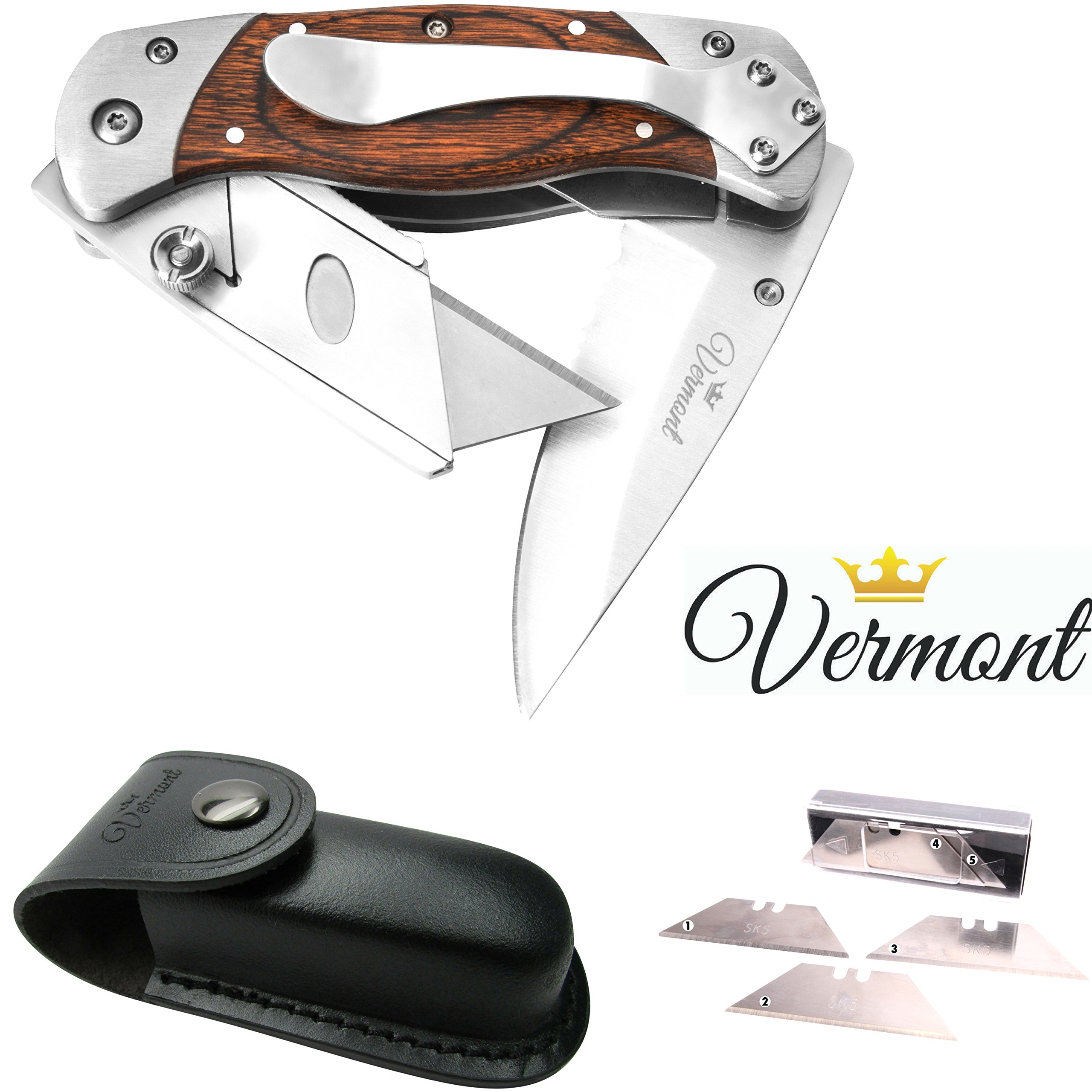 Vermont Best Folding Utility Knife 2 in1 - Handy Box Cutter with Heavy-Duty Belt Clip. Includes Leather Sheath and Razor Blades with Dispenser 5-Pack. Great Addition to your Tool Bag.