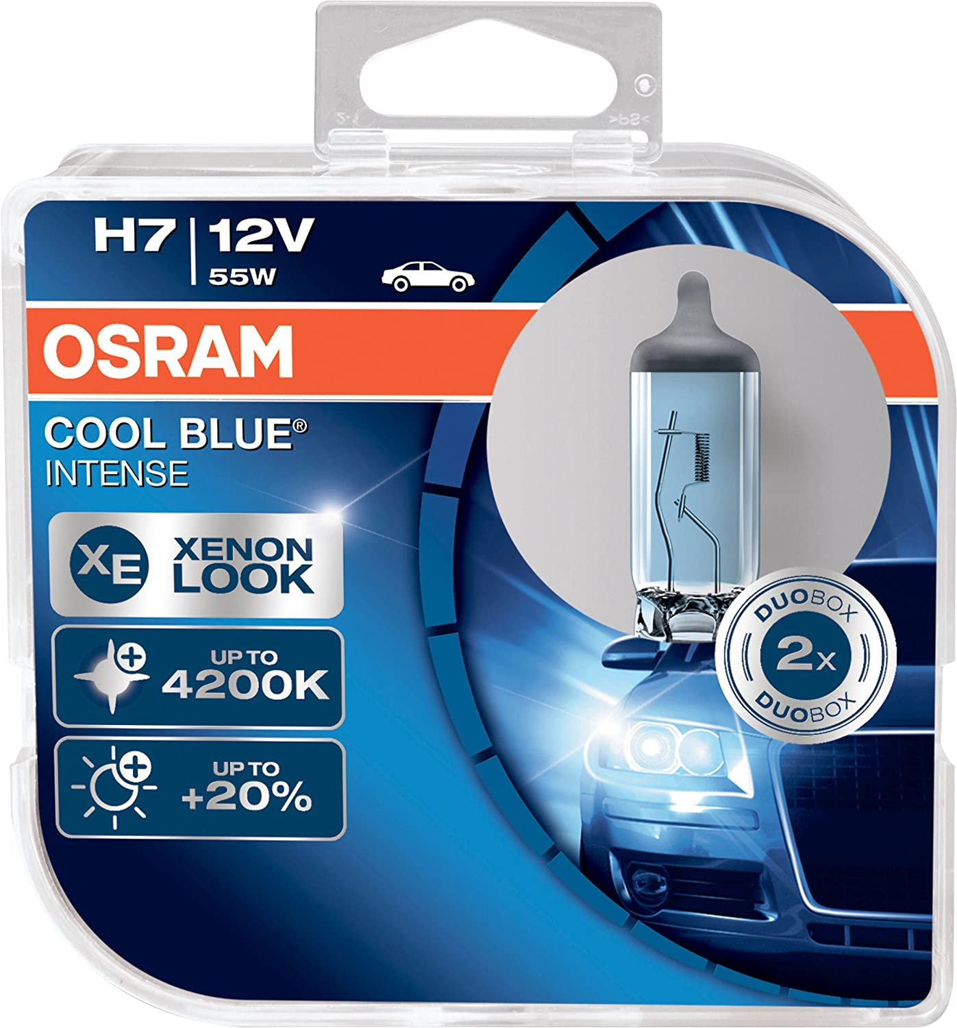 OSRAM COOL BLUE INTENSE H7, headlight bulb for halogen headlamps, xenon effect for white light, 64210CBI-HCB, 12V passenger car, duobox (2 units)