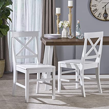 Great Deal Furniture 303851 Truda Farmhouse White Finish Acacia Wood Dining  Chairs