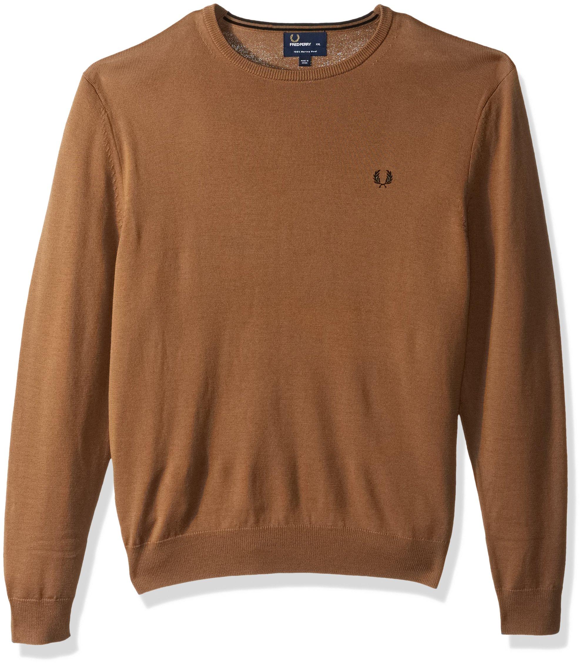 Fred Perry Men's Classic Crew-Neck Sweater, Dark Caramel, Medium