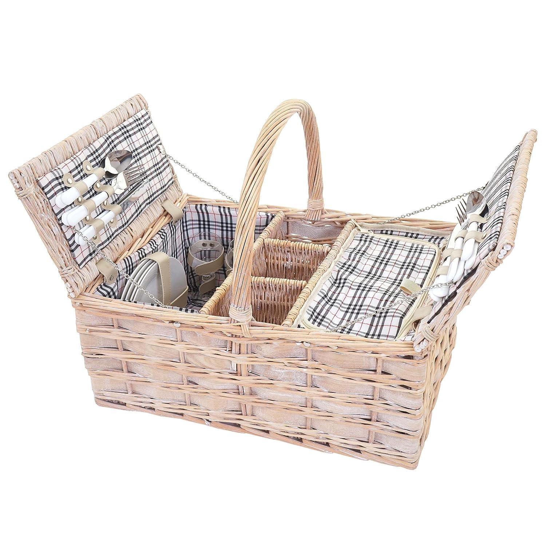 Picknickkorb-Set für 4 Personen, Picknicktasche + Kühlfach, Porzellan Glas Edelstahl, schwarz-rot