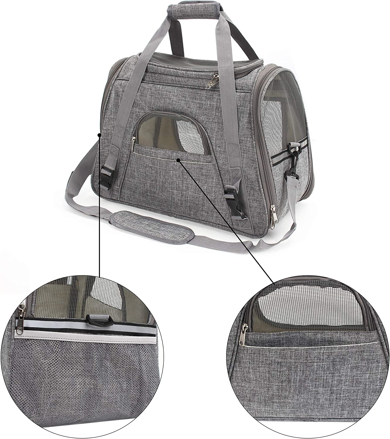 DAWOO Cat Carrier Airline-Approved Travel Pet Carrier,Dog Carrier,Suitable for Small and Medium-Sized Cats and Dogs 45 * 23 * 35cm, Light Gray