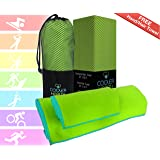 Luxury Microfiber Towel – Oversized Bath Towel + FREE Hand / Hair Towel & FREE Compact Bag - Super Soft - Absorbent - Fast Drying – Large Set Best for Gym Beach Yoga Travel