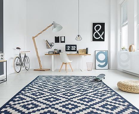 HOMEGNOME Indoor Outdoor Moroccan Trellis Rug 8x10 Navy Blue