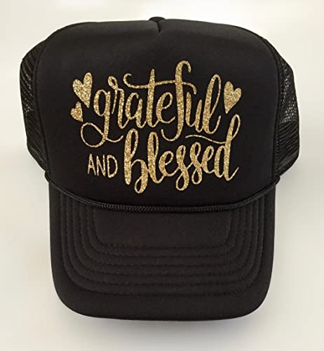 c233de8aaba23 Image Unavailable. Image not available for. Color  Black Women s Trucker Hat  Grateful and Blessed Custom ...