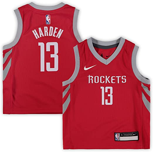 Nike James Harden Houston Rockets NBA Youth 8-20 Red Dri-Fit Performance Official Player T-Shirt