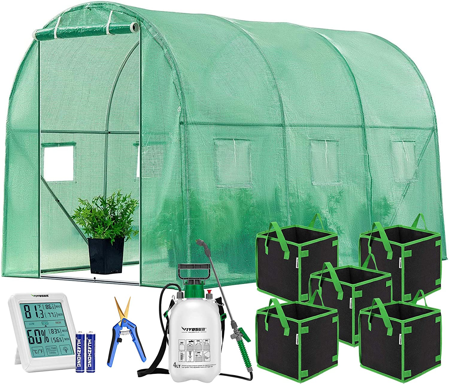 VIVOSUN 10x7x7FT Large Walk in Greenhouse, Square Grow Bags, Garden Pump Pressure Sprayer, Hand Pruner and Thermometer and Hygrometer